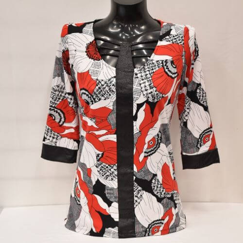 Red, Black And White Print Top With Faux Leather Detail