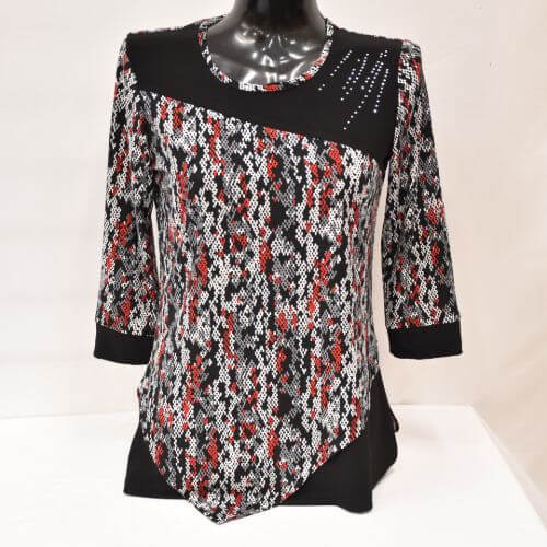 Red, Grey And White Layered Tunic Top