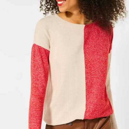 Blazing Red And Beige Melange Jumper