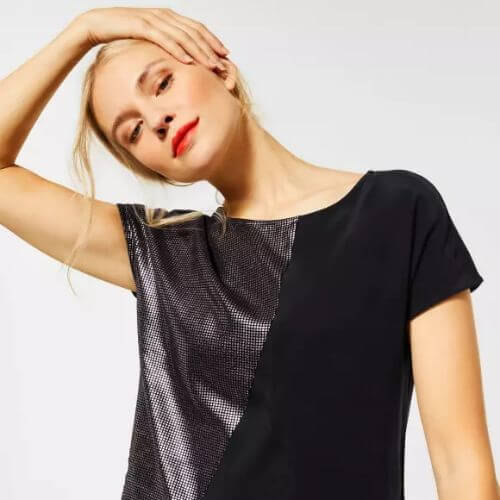 Black Top With Metallic Effect Detail
