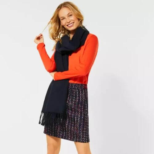 Bouclé Navy Print Skirt