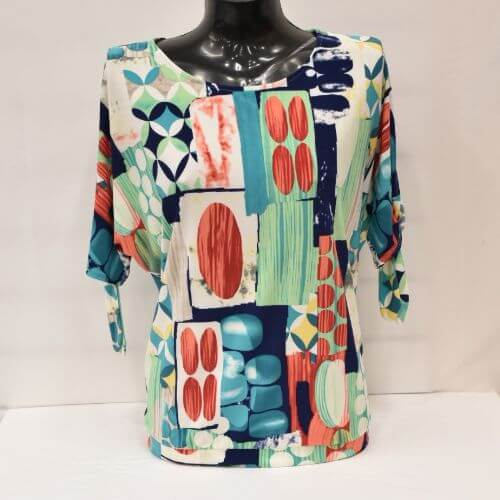 Print Top With Round Neckline