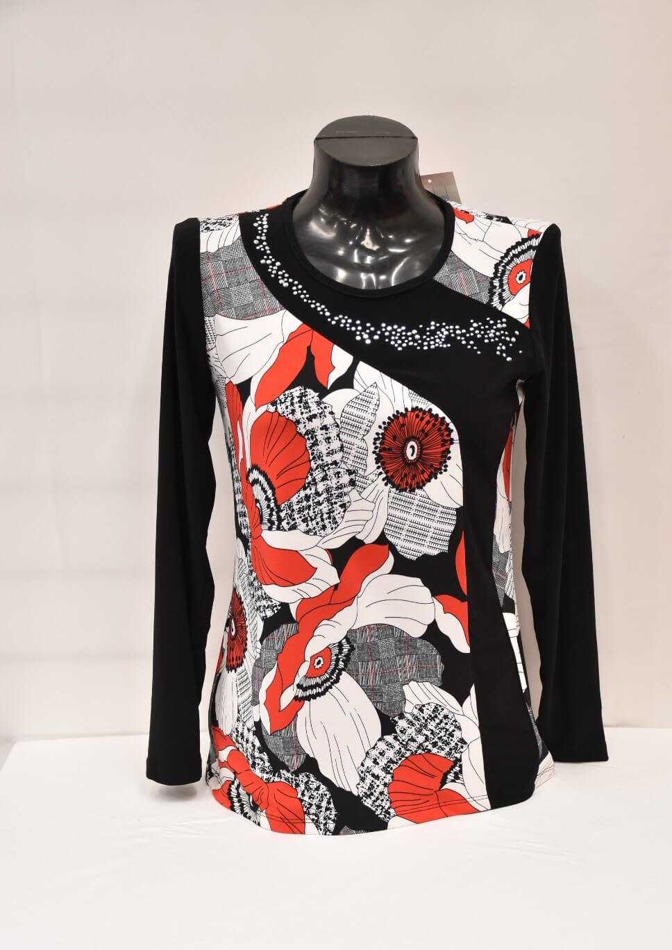 Red, Black And White Print Top With Diamonte Detail