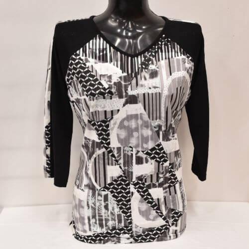 Black & White V-neck Top