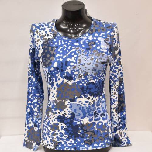 Blue And Grey Watercolour Print Top (Size 20 Only)