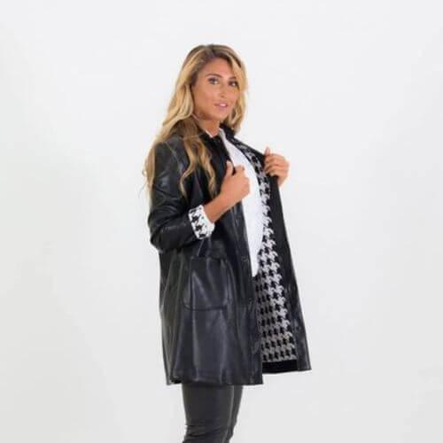 PU Black Leather Coat (Med & Large Only)