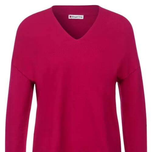 V-neck Sweater With Ribbed Edge