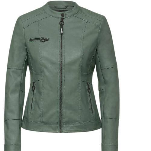 Soft Khaki Faux Leather Jacket