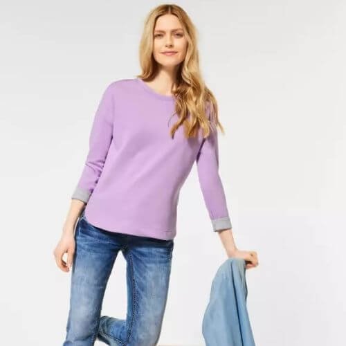 Soft Violet Top With Doubleface Look
