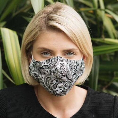 Black Paisley Print Adult Mask