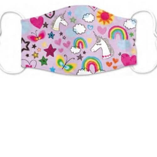Pink Unicorn Pattern Kids Mask