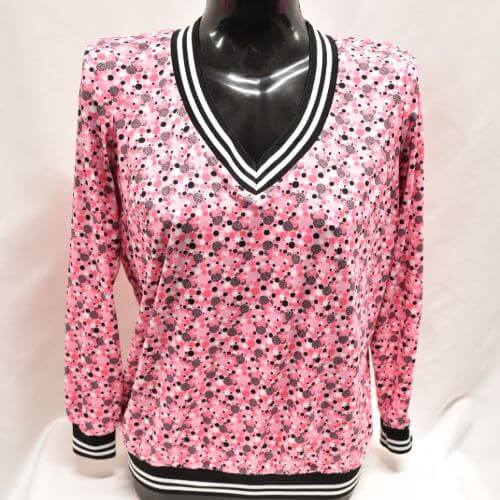 Pink Print V-neck Top With Spot Pattern