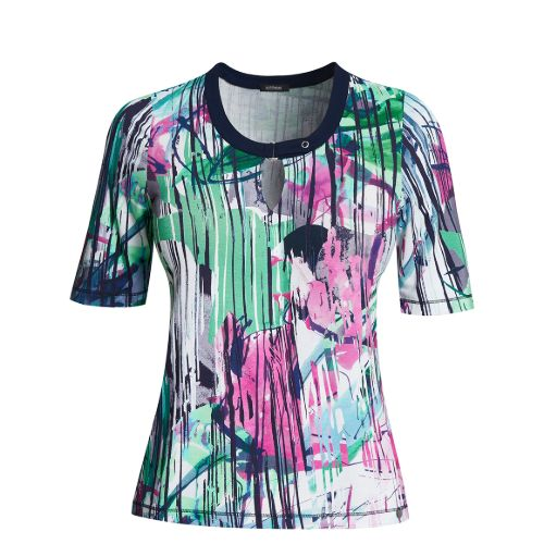 Print T-shirt With Keyhole Neckline
