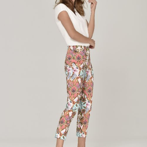 Graphical Floral Print Trousers