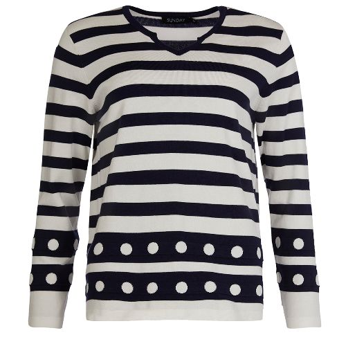 White & Navy V-neck Jumper