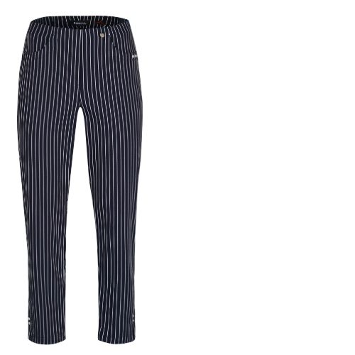 Robell Navy & White Stripe Trousers