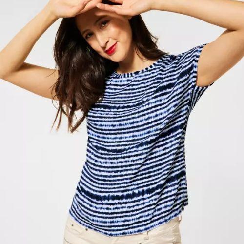 Eclipse Blue Batik Stripe Top