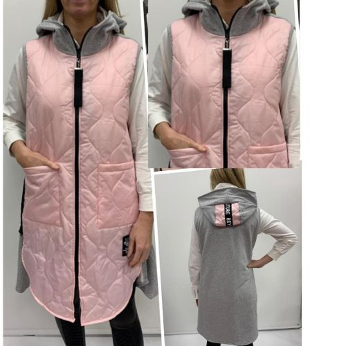 Gilet With Contrast Material Back And Hood