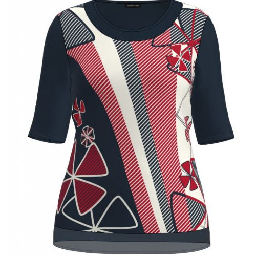 Navy, Red & White Print Top
