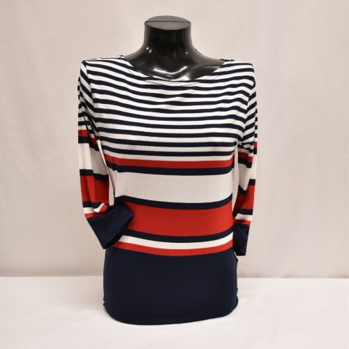 Navy, White And Red Stripe Top