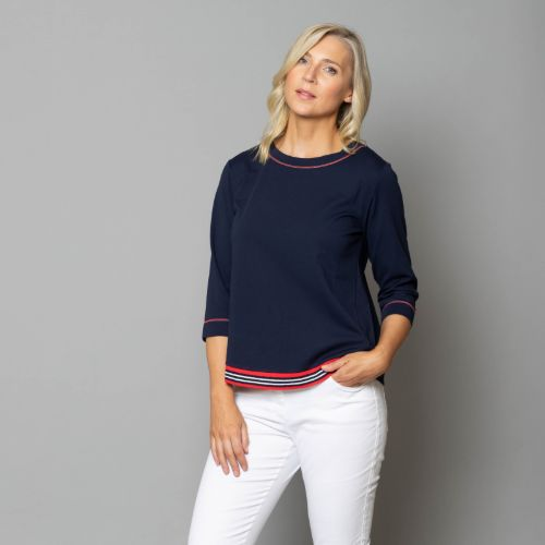 Navy Top With Striped Hem