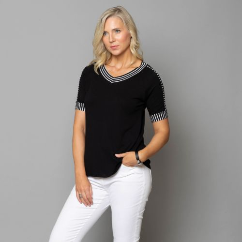 Navy Top With Stripe Trim Detail
