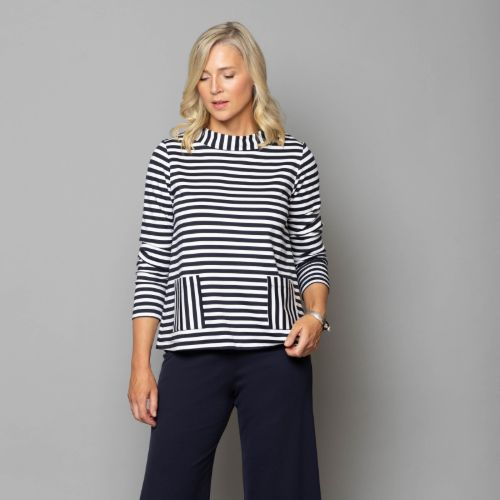 Navy & White Jersey Stripe Top