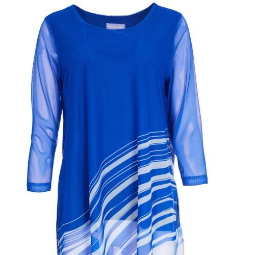 Royal Blue Mesh Print Top