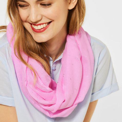 Pink Foil Print Loop Scarf