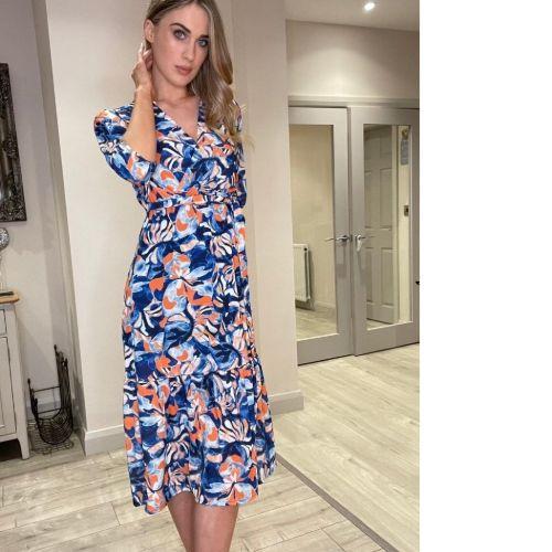 Blue & Orange Print Dress
