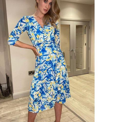 Blue & Yellow Midi Dress