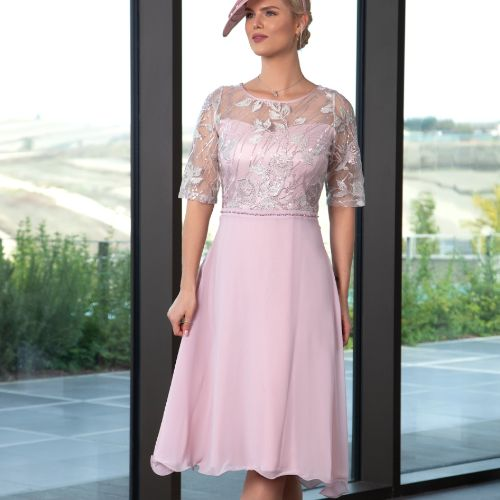Dress With Chiffon Skirt And Embellished Lace Top