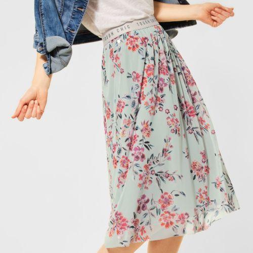 Shadow Green Midi Print Skirt