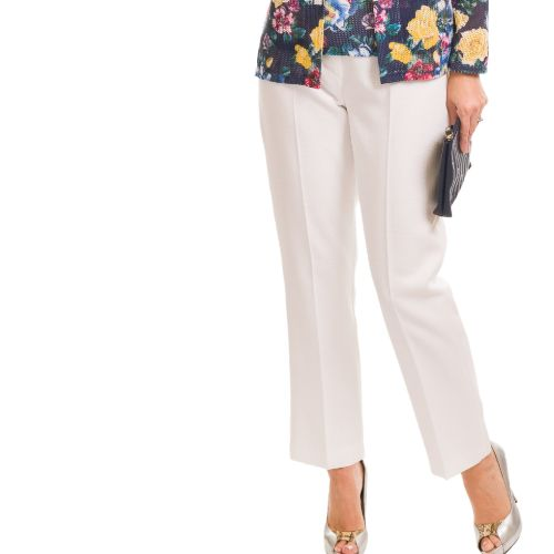 White Lined Linen Trousers