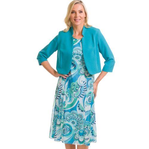 Mint Green & Blue A-line Dress With Mint Jacket