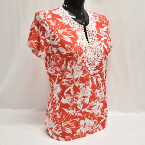 Print Top With Lace Trim