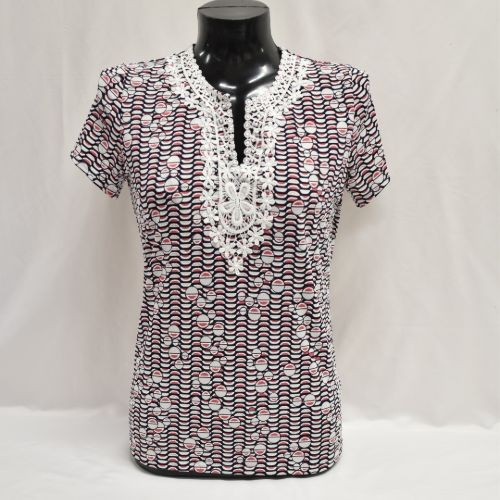 Navy, Coral & White Texture Print Top