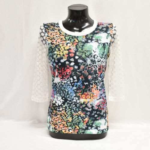 Print Top With Sequin Detail And Sheer Sleeve