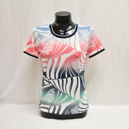 Navy, Coral, Mint & Blue Print Top