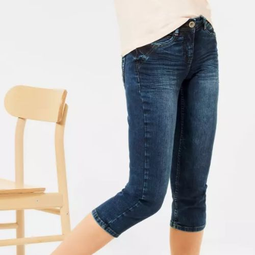 Mid Blue Wash 3/4 Length Jeans