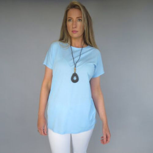 Sky Blue Top With Necklace