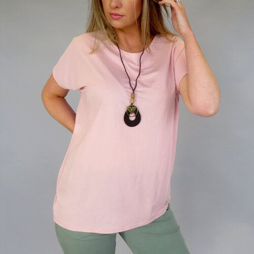 Dusty Pink Top With Necklace