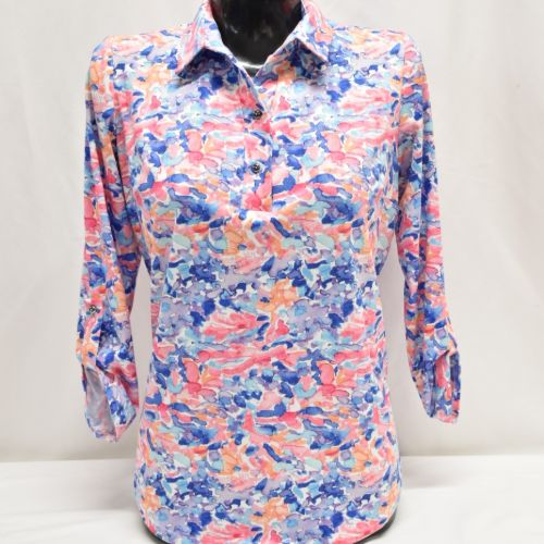 Print Top With Collar & Button Detail