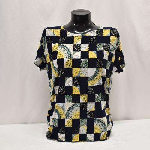 Navy & Yellow Print Top