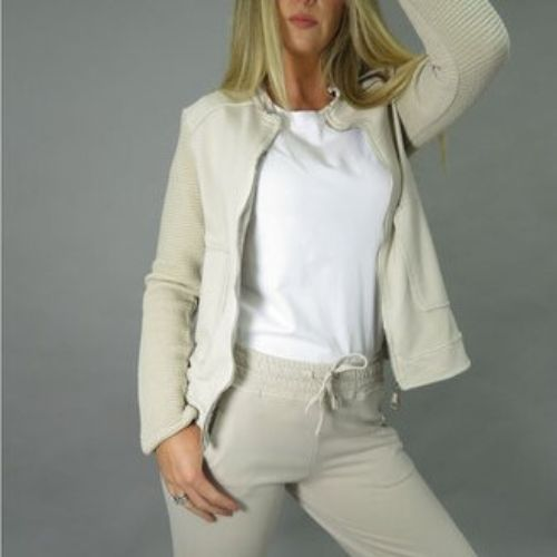 D.E.C.K. Beige Jacket With Ribbed Sleeve