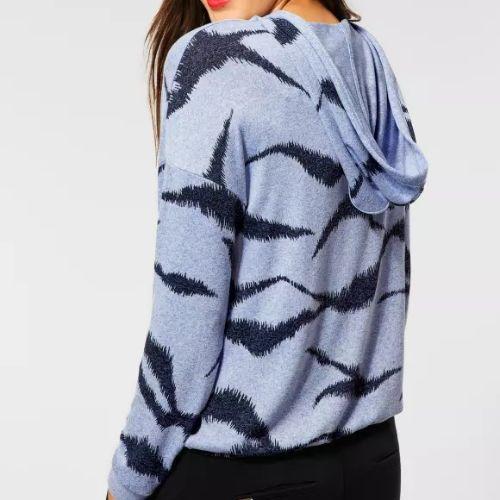 Blue Print Hooded Shirt Jacket