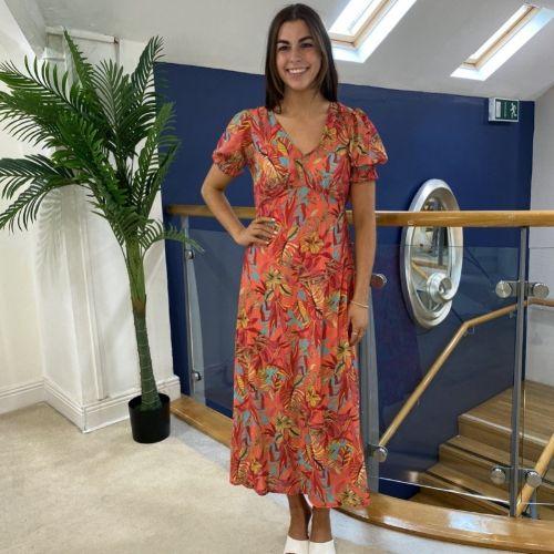 Kate & Pippa Sicilia Orange Leaf Print Maxi Dress