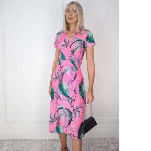 Kate & Pippa Sienna Leaf Print Wrap Dress
