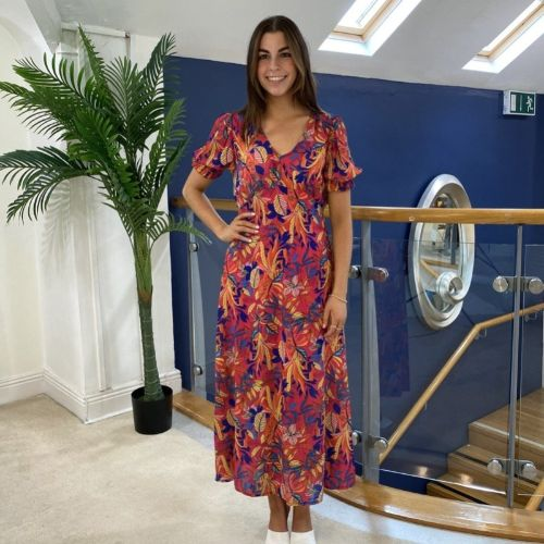 Kate & Pippa Sicilia Pink Leaf Print Maxi Dress
