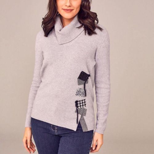 Grey Embellished Knit Sweater